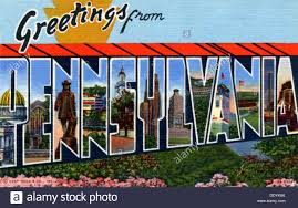 greetings from pennsylvania postcard 1940 stock photo royalty