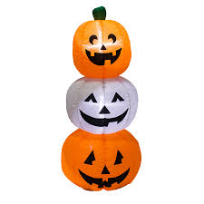 halloween inflatable shop holiday living 3 94 ft x 1 64 ft lighted pumpkin stack