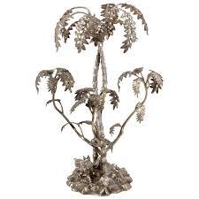 antique victorian decorative silver plate palm tree centerpiece