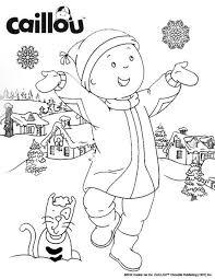 caillou u0027s snowman fun coloring sheet kid fun