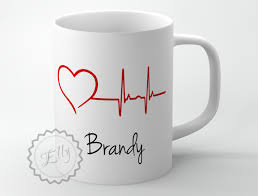 heartbeat line coffee cup personalized medical coffee mug