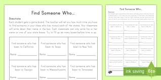 find a classmate united states find someone who worksheet activity sheet