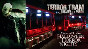 universal halloween horror nights terror tram survive the purge haunted house walkthrough halloween