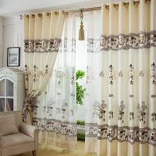 Beige And Green Curtains Decorating Decorative Style Landscape Pattern Beige Polyester Living