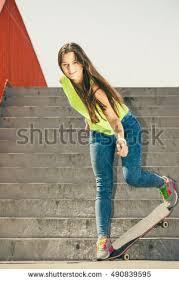long haired skater boys cool skate young long haired girl stock photo 490839595 shutterstock