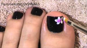 black toenail art design tutorial youtube
