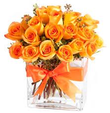 orange roses 24 orange roses in glass rectangle zeidlers flowers garden gifts