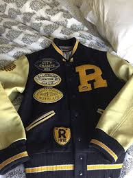 Football Bench Jackets Rugby Ralph Lauren Varsity Patch Football Jacket Extremely Rare S