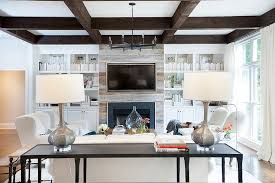 Fireplace Mantels With Bookcases Plank Fireplace Flanked By White Built In Bookcases Transitional