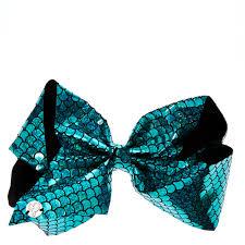 jojo siwa turquoise holographic mermaid signature hair bow