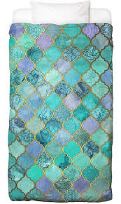 Moroccan Bed Linen - mint moroccan tile pattern as bed linen by micklyn le feuvre juniqe