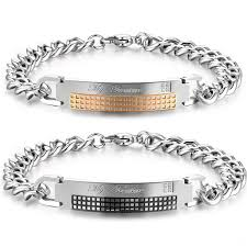 price bracelet images Titanium chain and plate customize letters lover 39 s bracelets jpg