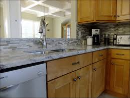 Rock Backsplash Kitchen by Kitchen Grey Floors And White Cabinets Stacked Stone Backsplash