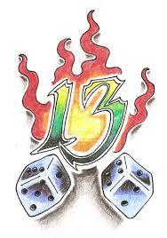 flaming dice 13 tattoo design
