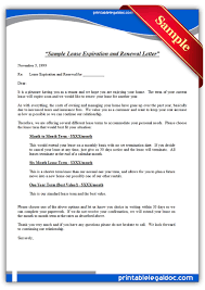 free printable sample lease expiration and renewal letter form