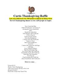 raffle to benefit the 29th annual curtis family thanksgiving