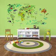 World Map Wall Sticker by Amazon Com Eveshine Animal World Map Peel U0026 Stick Nursery Wall