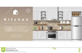 interior design modern kitchen background stock vector image