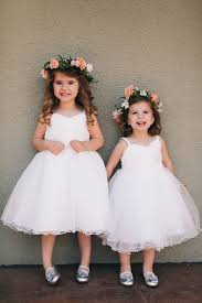 white tea length princess kids flower dress luckybridesmaids