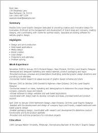 Resume Samples For Designers by Professional Entry Level Graphic Designer Templates To Showcase