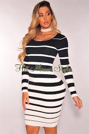 navy blue white striped ribbed knit long sleeves dress