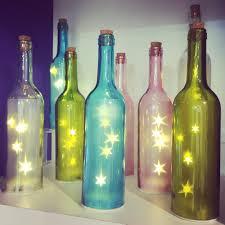 Wine Bottle Home Decor Coloured Glass Bottle With Star Fairy Lights Inside Homedecor