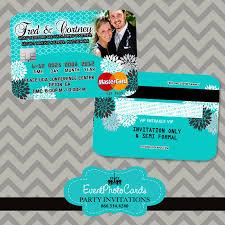 turquoise wedding invitations credit card invites elegant