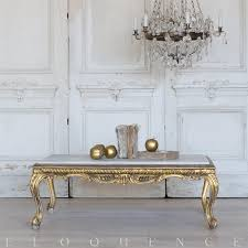 eloquence french vintage gold cabriole marble coffee table