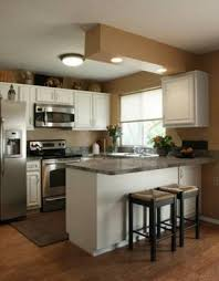 Fascinating Backsplash Ideas For L Shaped Small Kitchen Design L Shaped Brown Varnishes Cherry Potted House Plants Small Kitchen