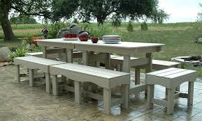 Patio Dining Set With Bench Outdoor Patio Set Recycled Plastic Table And Benches Garden Chairs