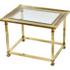 brass and glass end tables mastercraft patinated brass and glass end table at 1stdibs brass end