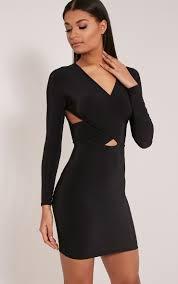 tamaya black long sleeve cross front bodycon dress loving the