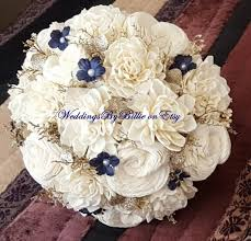 Shabby Chic Wedding Bouquets by Navy Blue Sola Bouquet Blue Champagne Ivory Bouquet Wedding