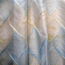 gold baby blue chain stitch embroidery sheer curtain panels