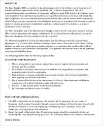 Resident Assistant Job Description Resume Resident Assistant Job Description Free Meal Plan A Single Room