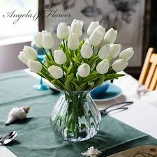 free shipping 31pcs lot pu mini tulip flower real touch wedding