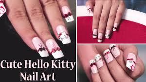 hello kitty inspired nail art easy nail craft designs youtube