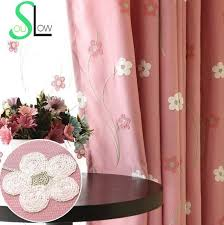 pink girl curtains bedroom slow soul pink blue embroidered floral cotton pastoral curtains