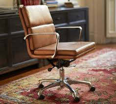 Leather Office Chair Nash Leather Swivel Desk Chair Pottery Barn