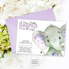 purple and grey baby shower invitations purple elephant baby shower invitation it u0027s a