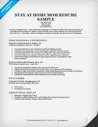 Professional Experience Resume Examples by Stay At Home Mom Resume Sample U0026 Writing Tips Resume Companion