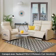 canapé cuir bicolore canapé relax cuir bicolore fidji canapé relaxation électrique