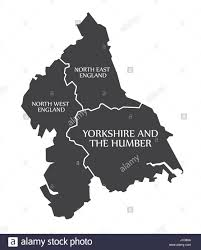 Map Of Yorkshire England by North East And North West England Yorkshire And The Humber Map