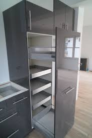 Kitchen Cabinets Slide Out Shelves Smokey Gray Glossy Metal Pull Out Storage Pantry Cabinet With