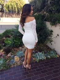 shop discount long sleeve off the shoulder lace white knee length