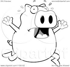 cartoon clipart of a black and white pig running scared vector
