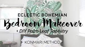 minimal bedroom makeover diy palm tapestry konmari method