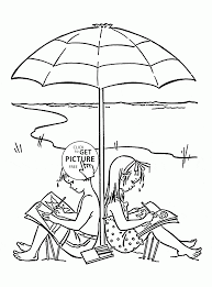 kids on beach coloring page for kids seasons coloring pages