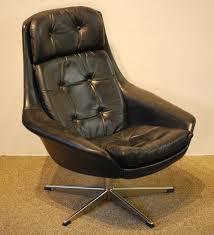 Boston Swivel Chair by 10226 H W Klein Designed Danish Modern Leather Swivel Armchair