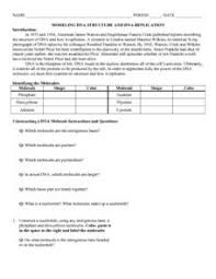Dna Structure And Replication Worksheet Key Modeling Dna Structure And Dna Replication 7th 9th Grade